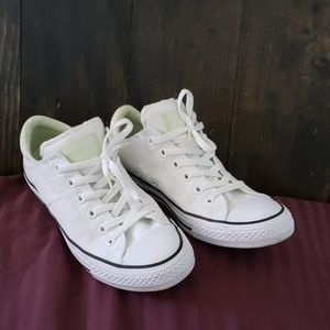 White & Lime Converse All Stars